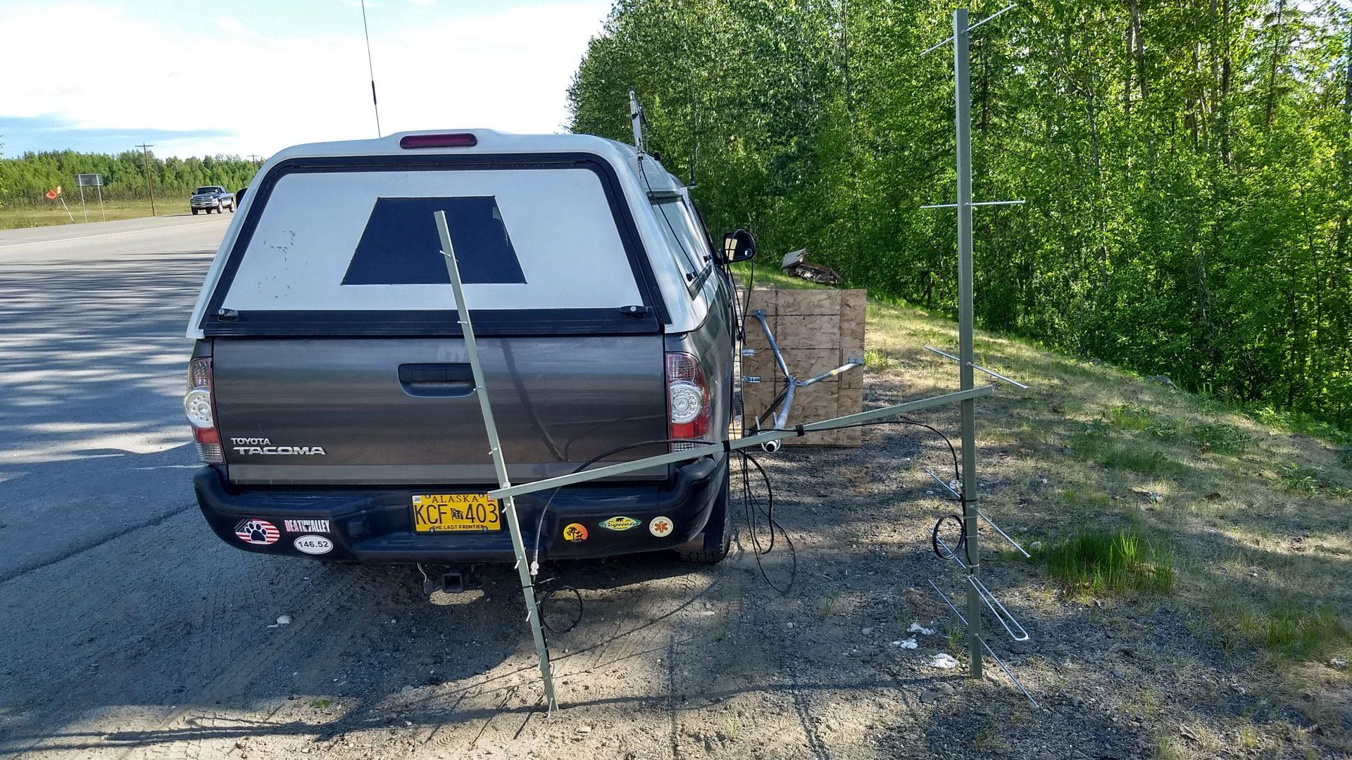Mobile ham radio contest station with tilt over mast