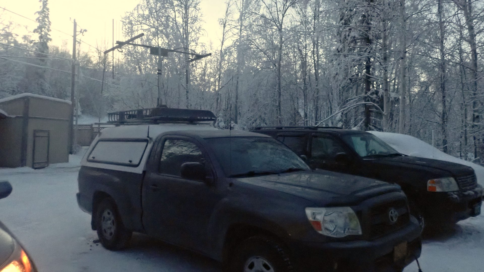 Toyota Tacoma with rover antennas for a VHF contest