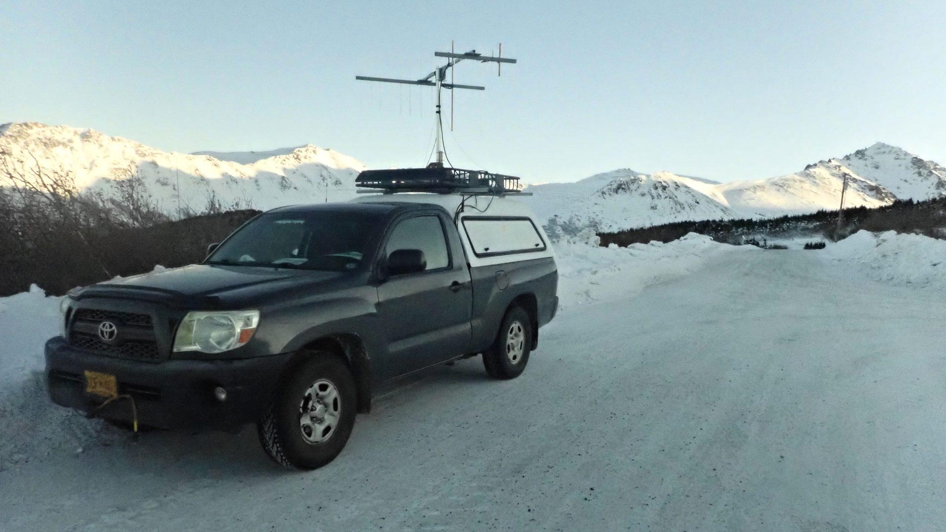 Toyota Tacoma VHF rover on teh roadside in snowy Alaska