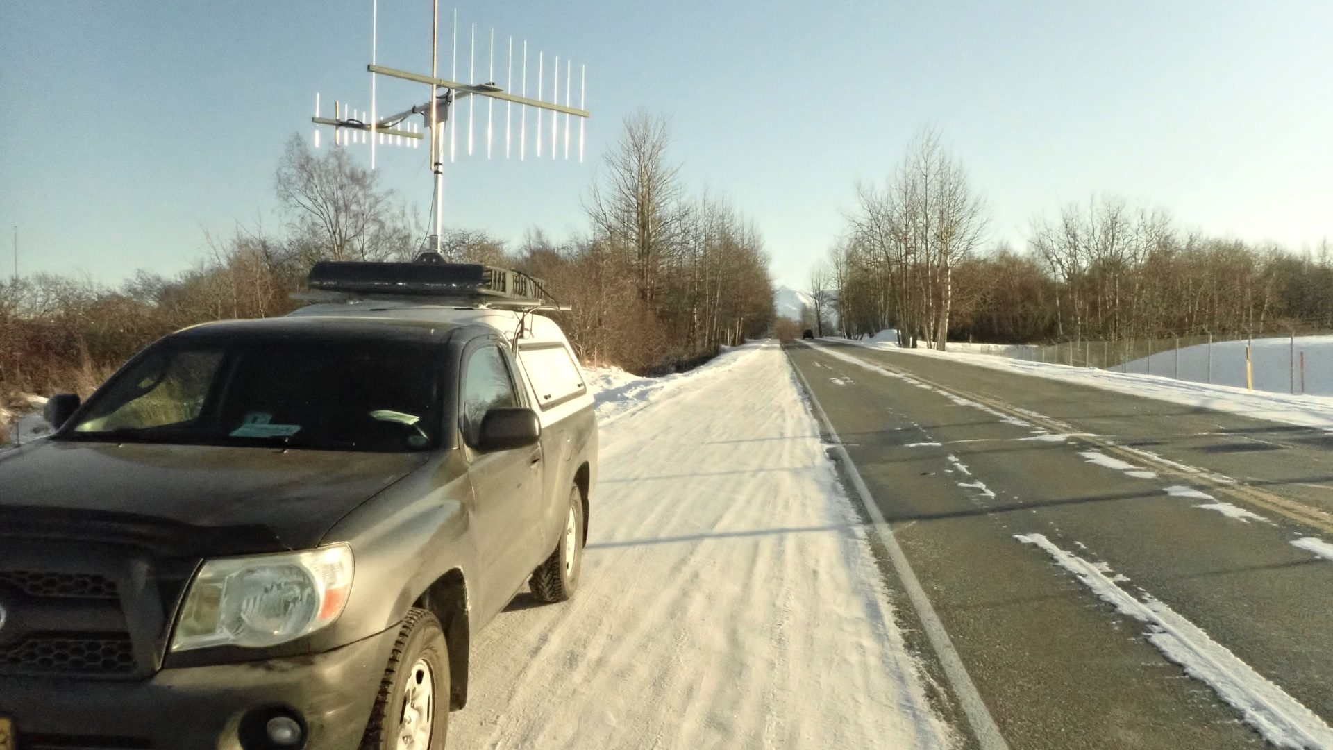 VHF rover KL7BSC on a frozen road