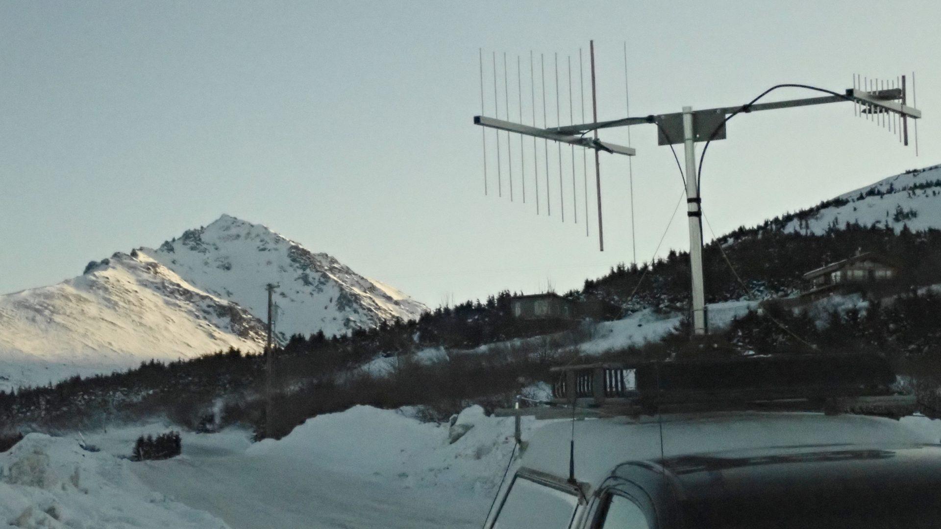 VHF rover antennas in frozen Alaska landscape