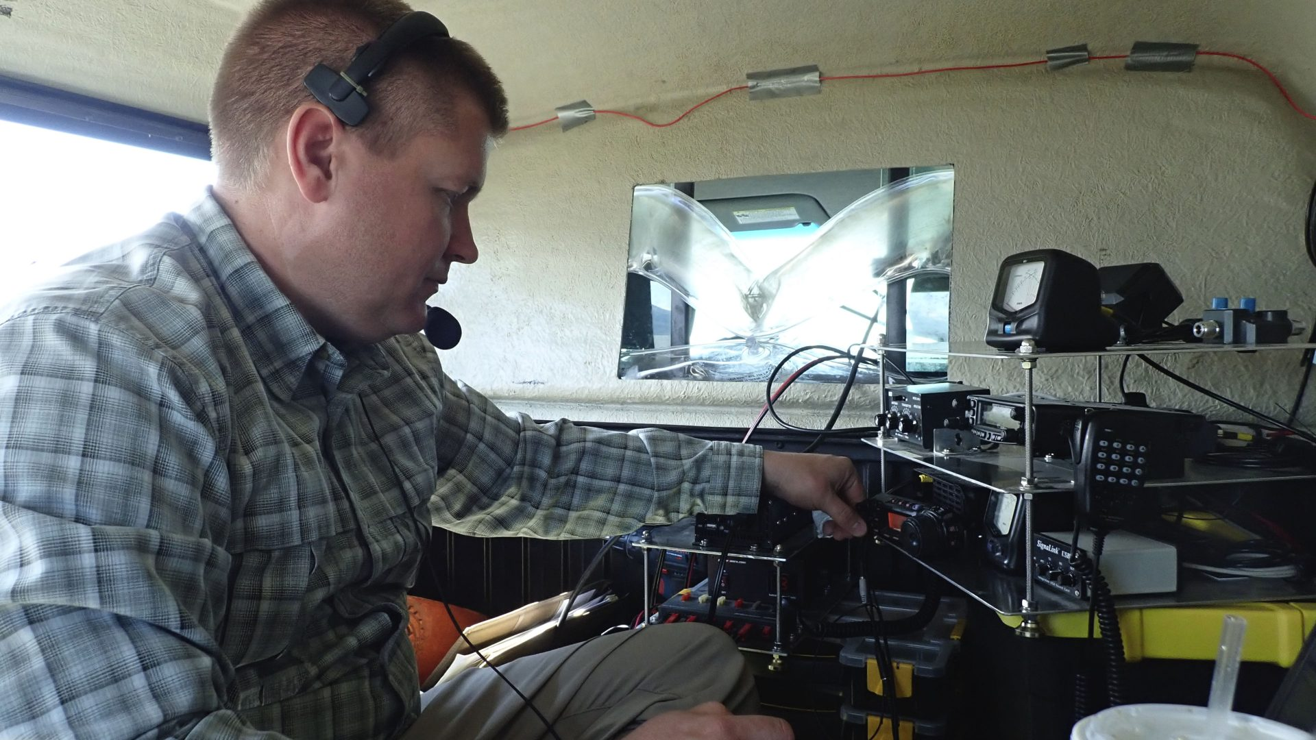 Ham radio operator contesting VHF rover
