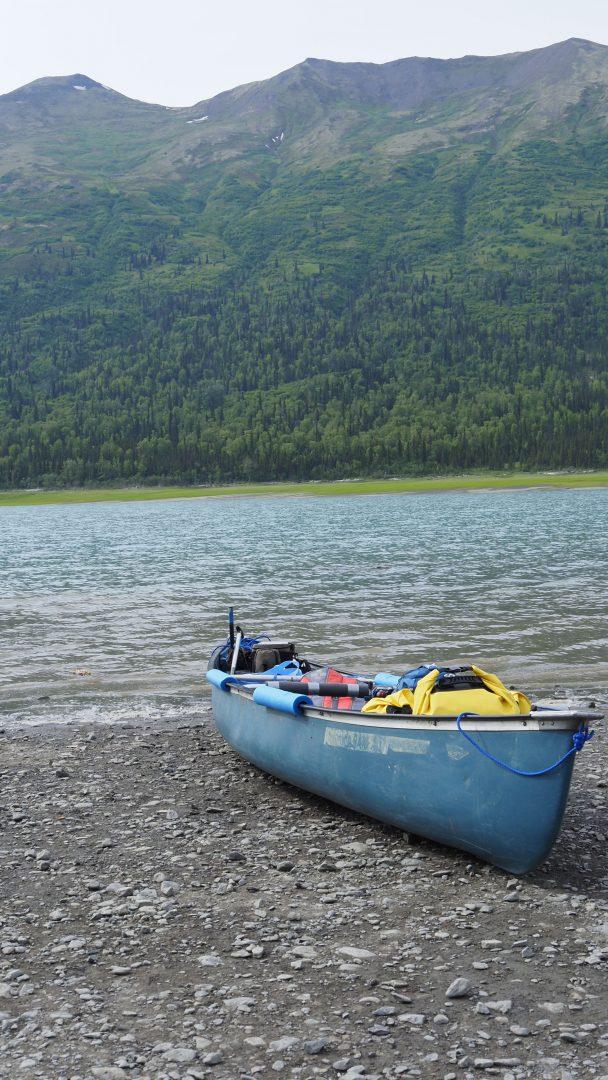 Canoe on teh beach at Lake Eklutna, Alaska