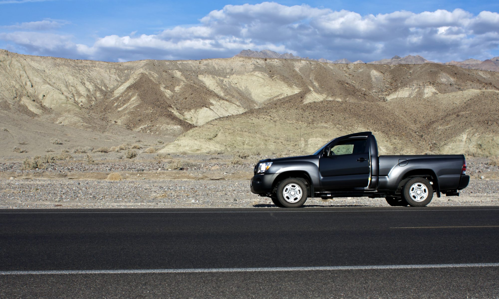 Toyota Tacoma on the Greenwater Valley Road in Death Valley