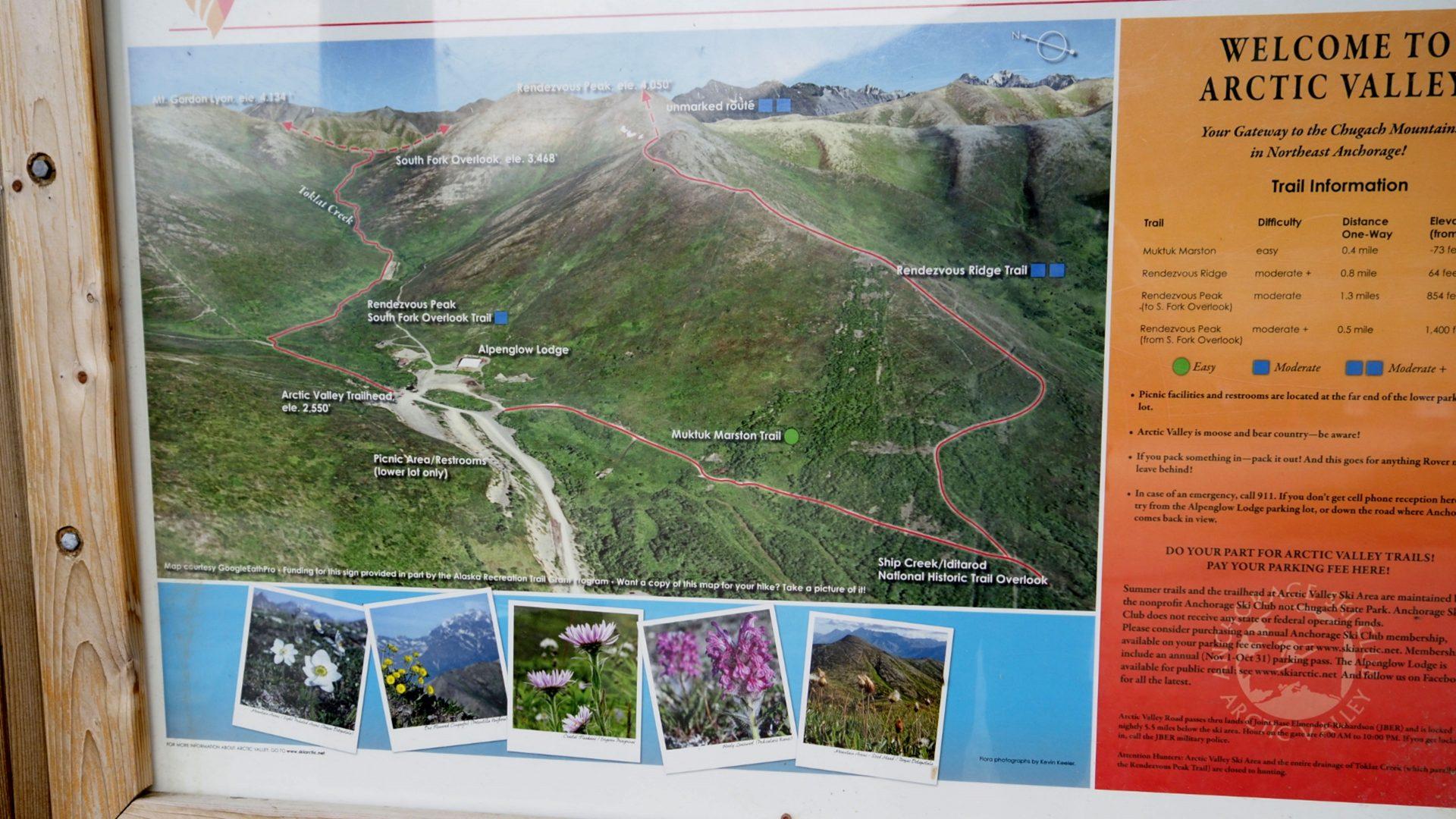 Map of Arctic Valley Ski Area, Alaska