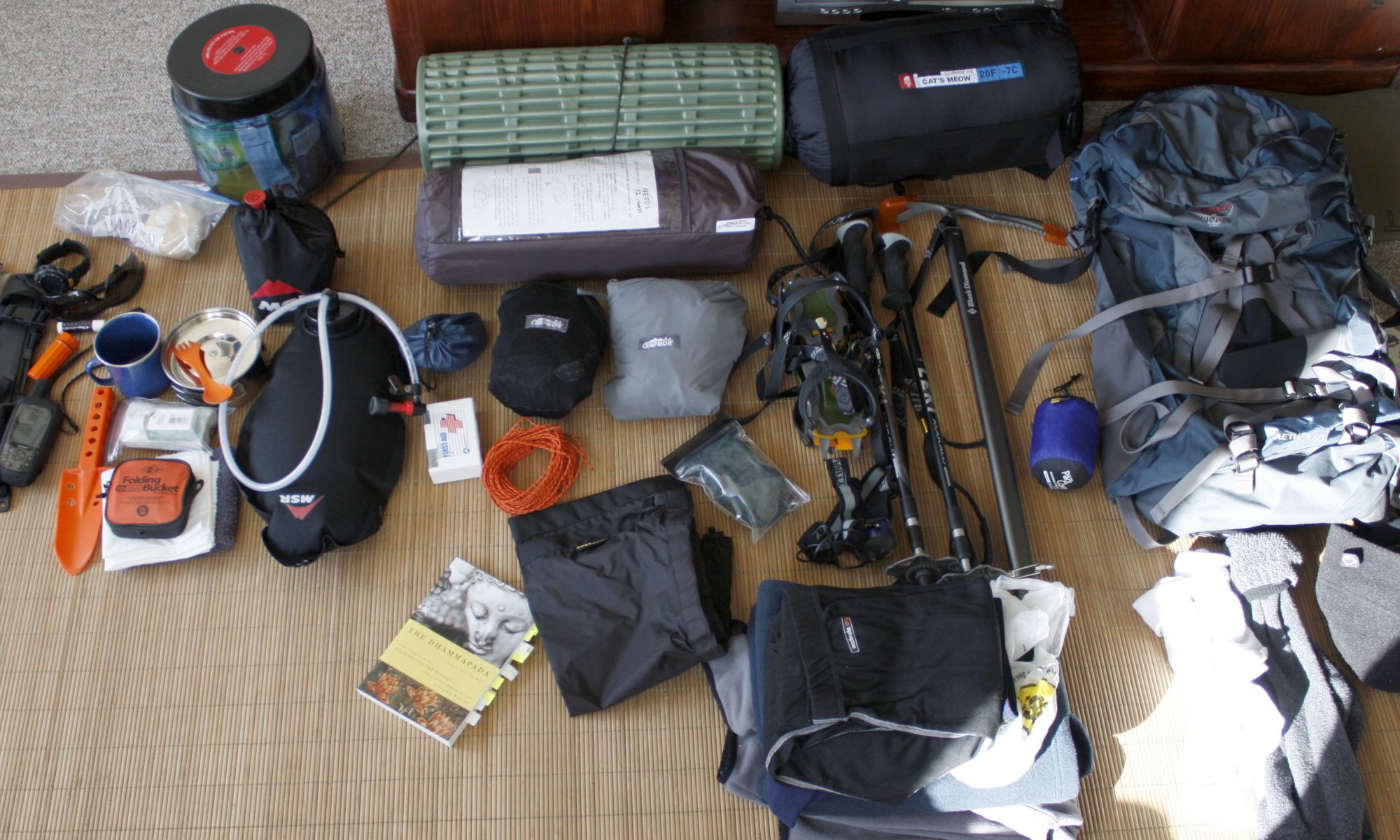 Backpacking gear laid out before a trip