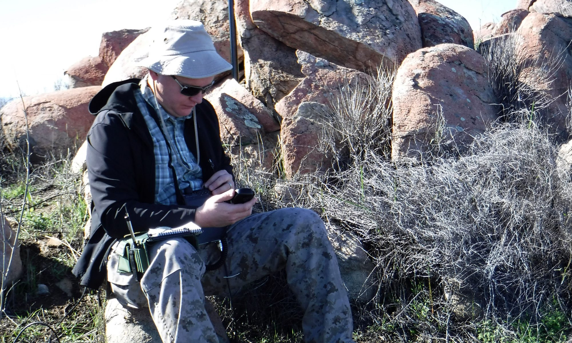 Amateur radio operator set up portable for Summits on the Air