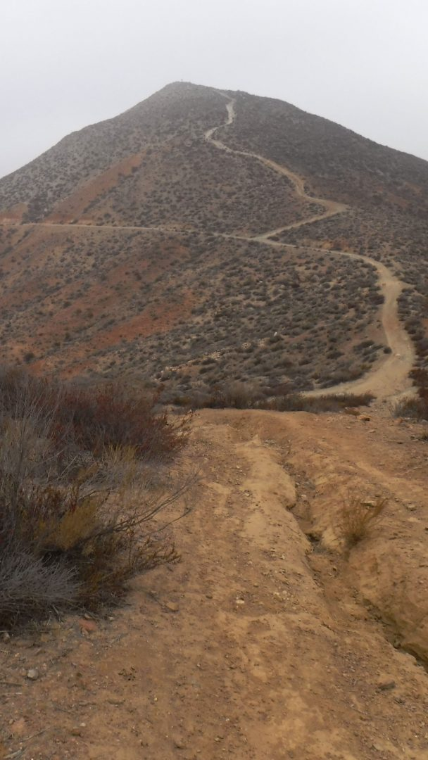 Trail up a mountain for SOTA