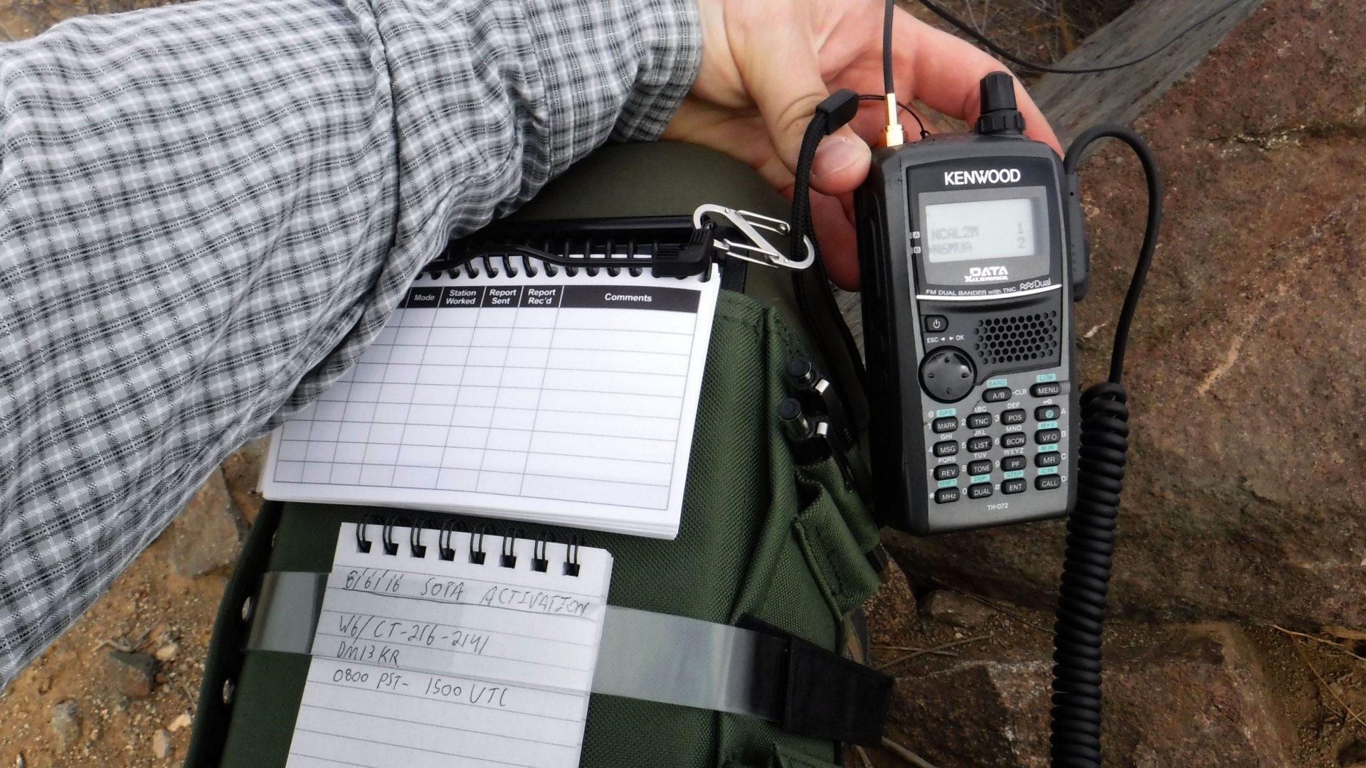 Ham radio handheld and log