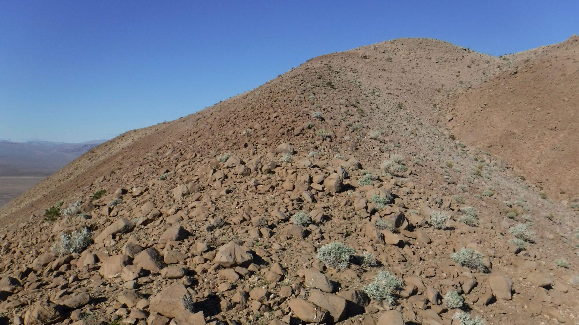 Ridgeline approaching the top of a peak