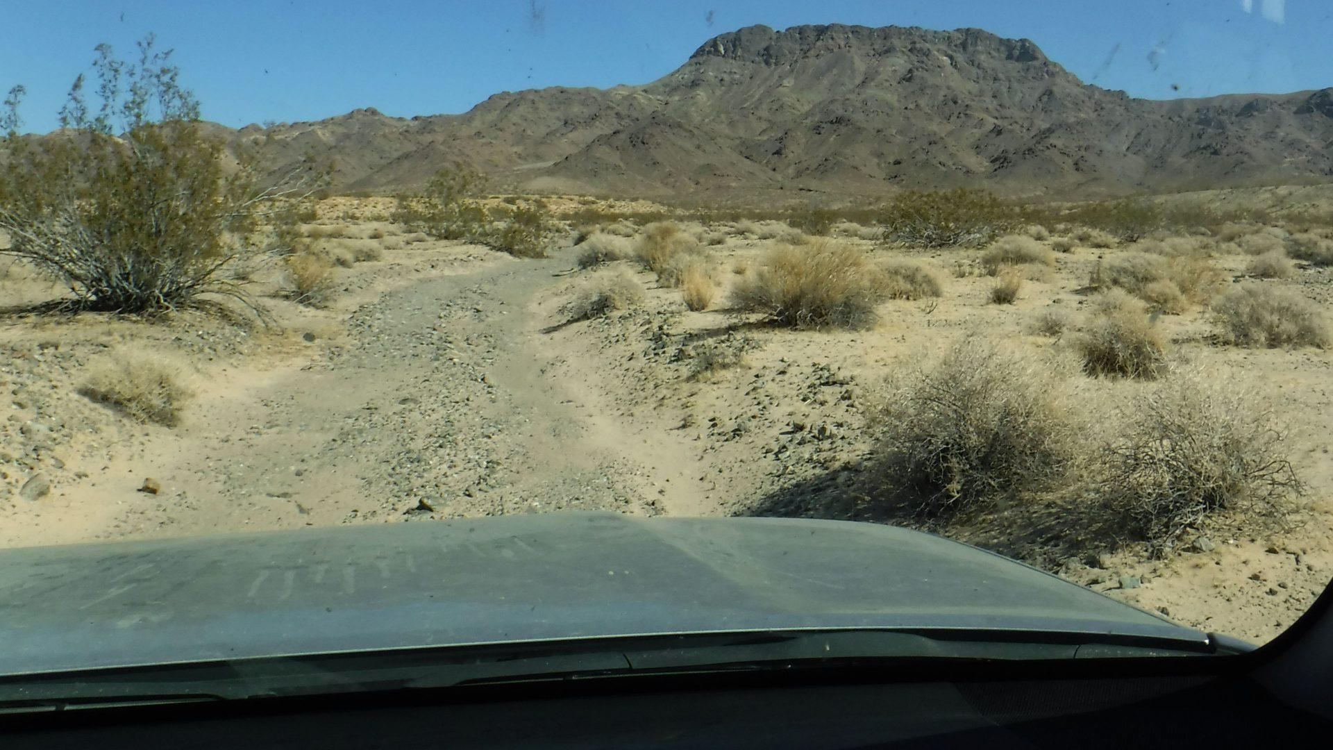 Desert road viewed through windshield