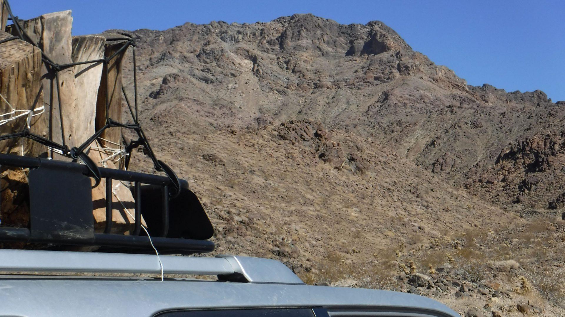 View of a desert peak from below