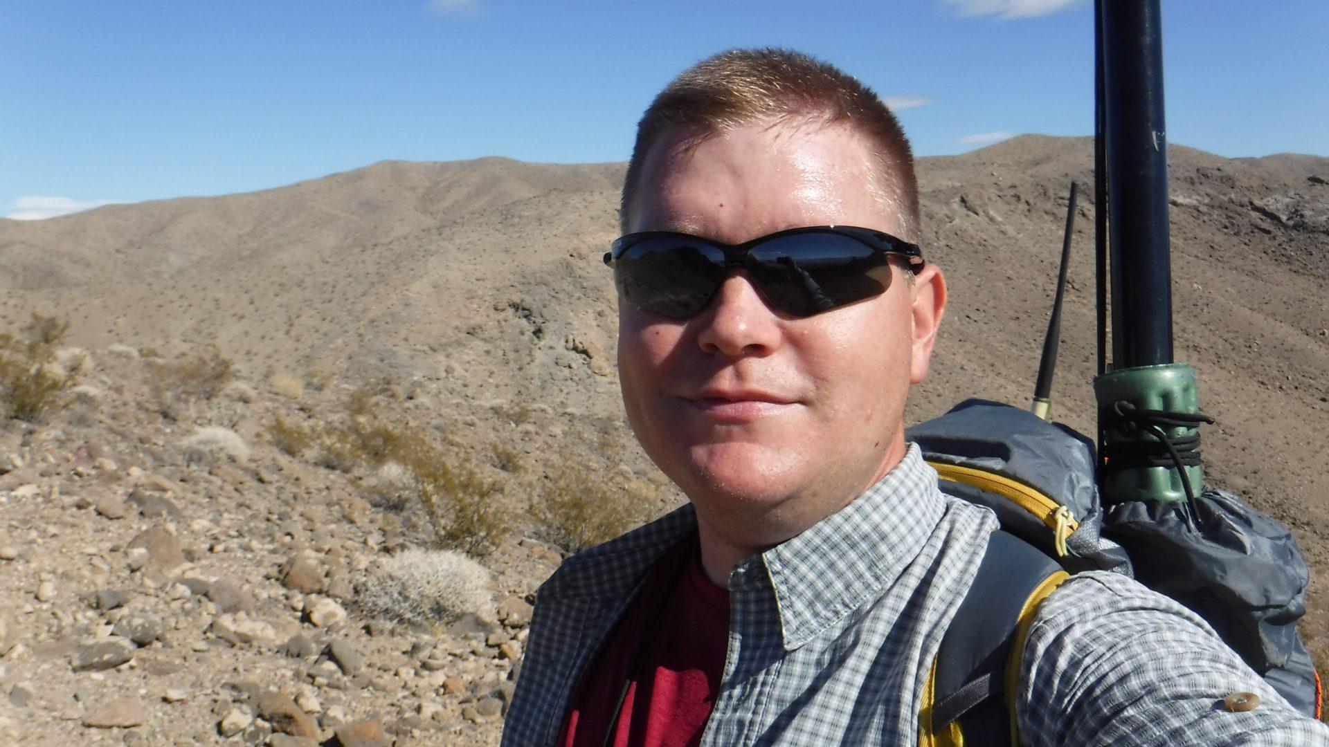 SOTA amateur radio operator in the desert