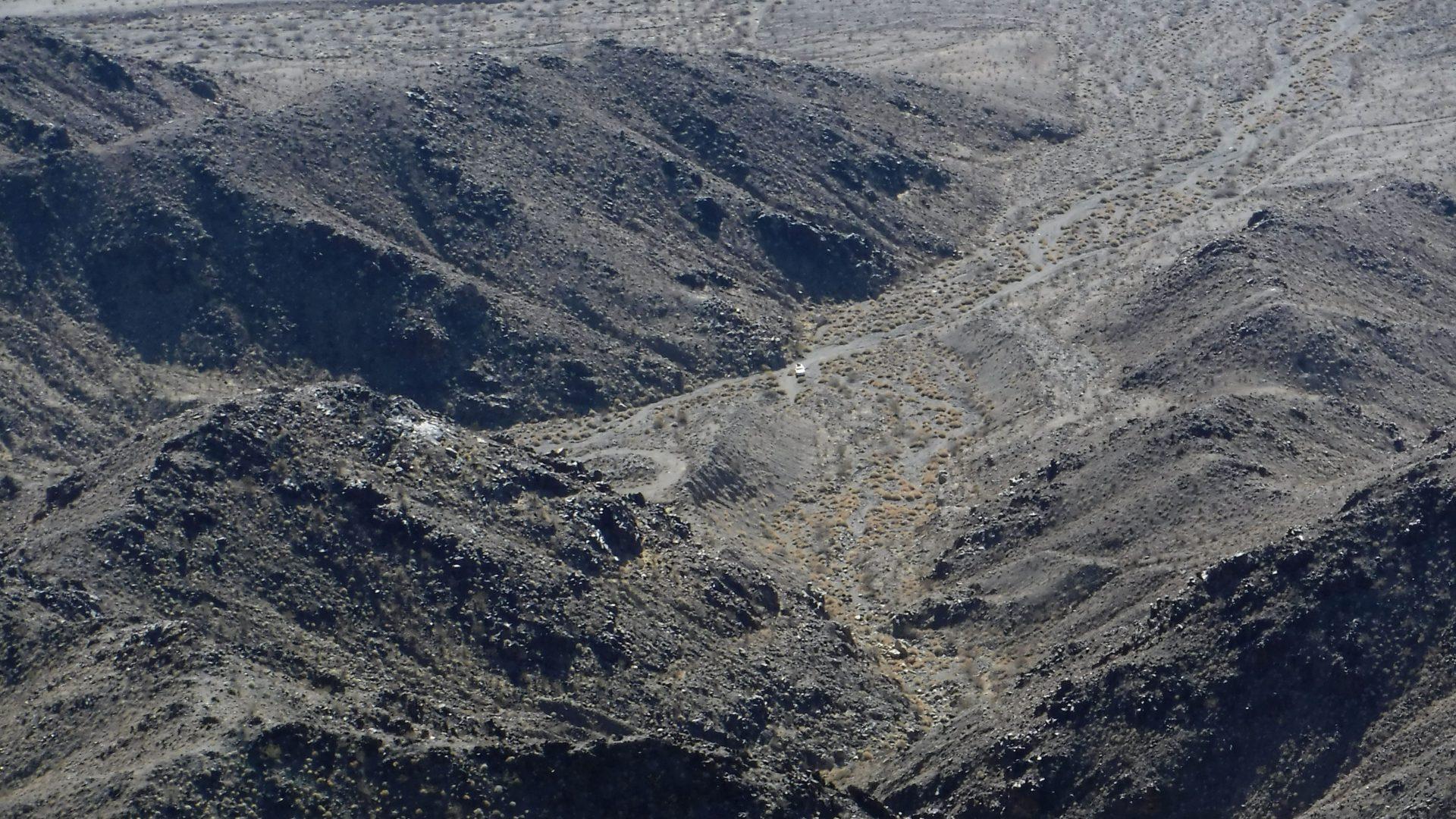 View down into a desert canyon