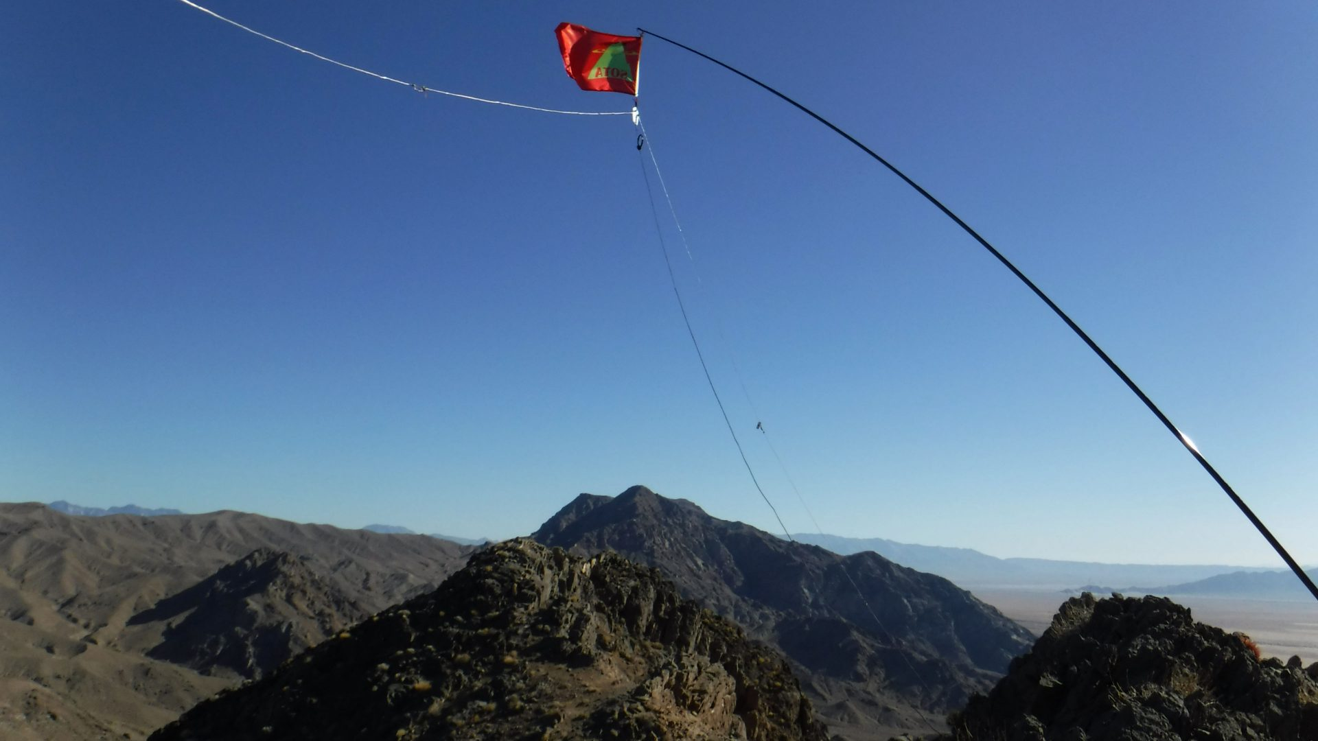SOTA flag on a linked dipole antenna