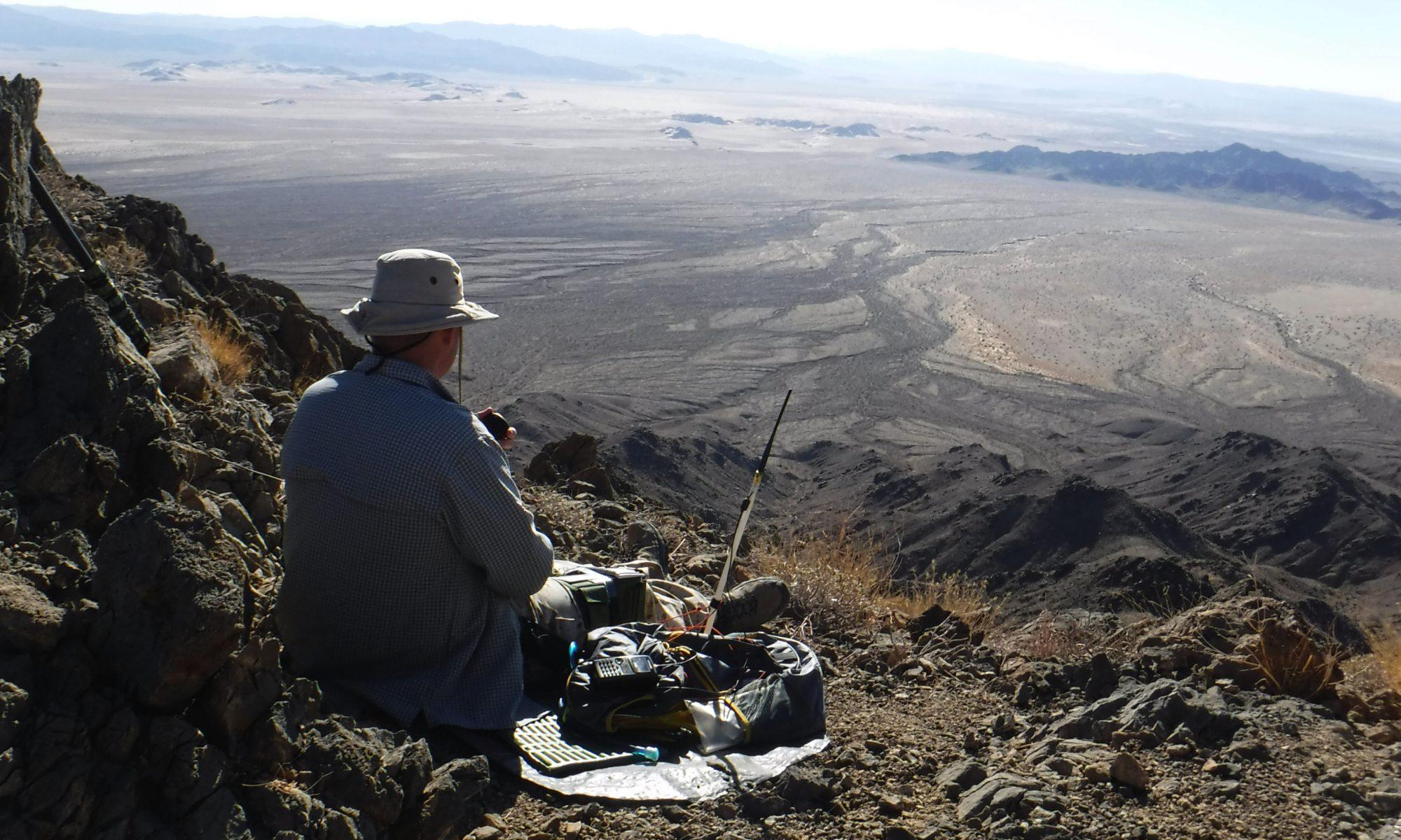 Ham radio operator portable for SOTA in the desert
